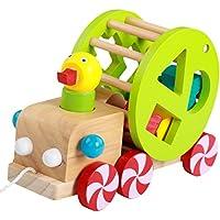 Shape Sorter Wooden Pull Along Walking Duckおもちゃ早期開発おもちゃ赤ちゃん幼児のため