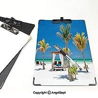 クリップボード A4サイズ対応 レンジップボード 熱帯 作業用ペーパーホルダー (2パック)ヤシの木の中でビーチベッドパラダイスコースト休日夏の海日光浴写真多色