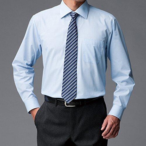 (ニッセン) nissen 抗菌防臭 ・ 形態安定 長袖 ワイシャツ ( ワイドカラー )( 標準シルエット ) サックス系 Mサイズ(首廻り39cm裄丈86cm)