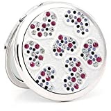 流行の カラークリスタルダイヤモンド小さなミラーポータブルレディ創造的な誕生日プレゼントで折り畳まれた両面化粧鏡 (色 : Silver)