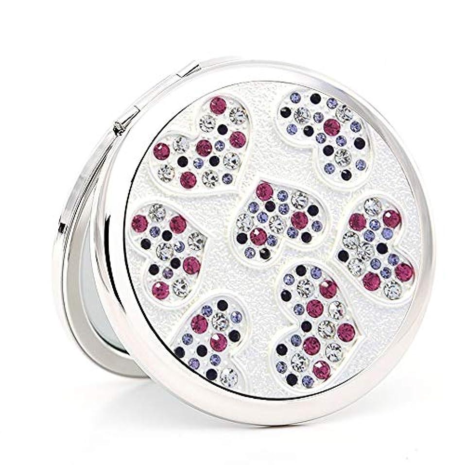 アカウントセージメイト流行の カラークリスタルダイヤモンド小さなミラーポータブルレディ創造的な誕生日プレゼントで折り畳まれた両面化粧鏡 (色 : Silver)