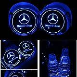 車用 LED ドリンクホルダー レインボーコースター 車載 ロゴ ディスプレイライト LEDカーカップホルダー マットパッド (メルセデスBenz)