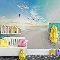 Ansyny カスタム3D写真の壁紙砂浜海空自然風景大壁画リビングルームの寝室の背景壁画3D-260X160CM