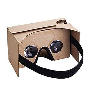 Habor 3D VRカードボード ゴーグル 3D体験組み立て式メガネ タッチボタン付き 3.5~5.5インチのiPhone/Androidスマホに対応 ベルト付き