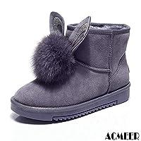 [AcMeer] ムートンブーツ レディース ウサギ モカシン フラットシューズ スエード 防寒 可愛い ファー ボア 綿靴 柔らかい ソフト 冬用 通学 ふわふわ