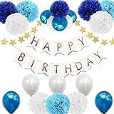 AMTOK 誕生日 飾り付け 装飾 風船 セット バースデー ガーランド ペーパーフラワー フラッグガーランド HAPPY BIRTHDAY お祝い(両面テープ付き、合計23点セット) (ブルー)