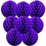 Happy Spring ハロウィン ハニカム ボール 8個 セット (10cm, 紫)