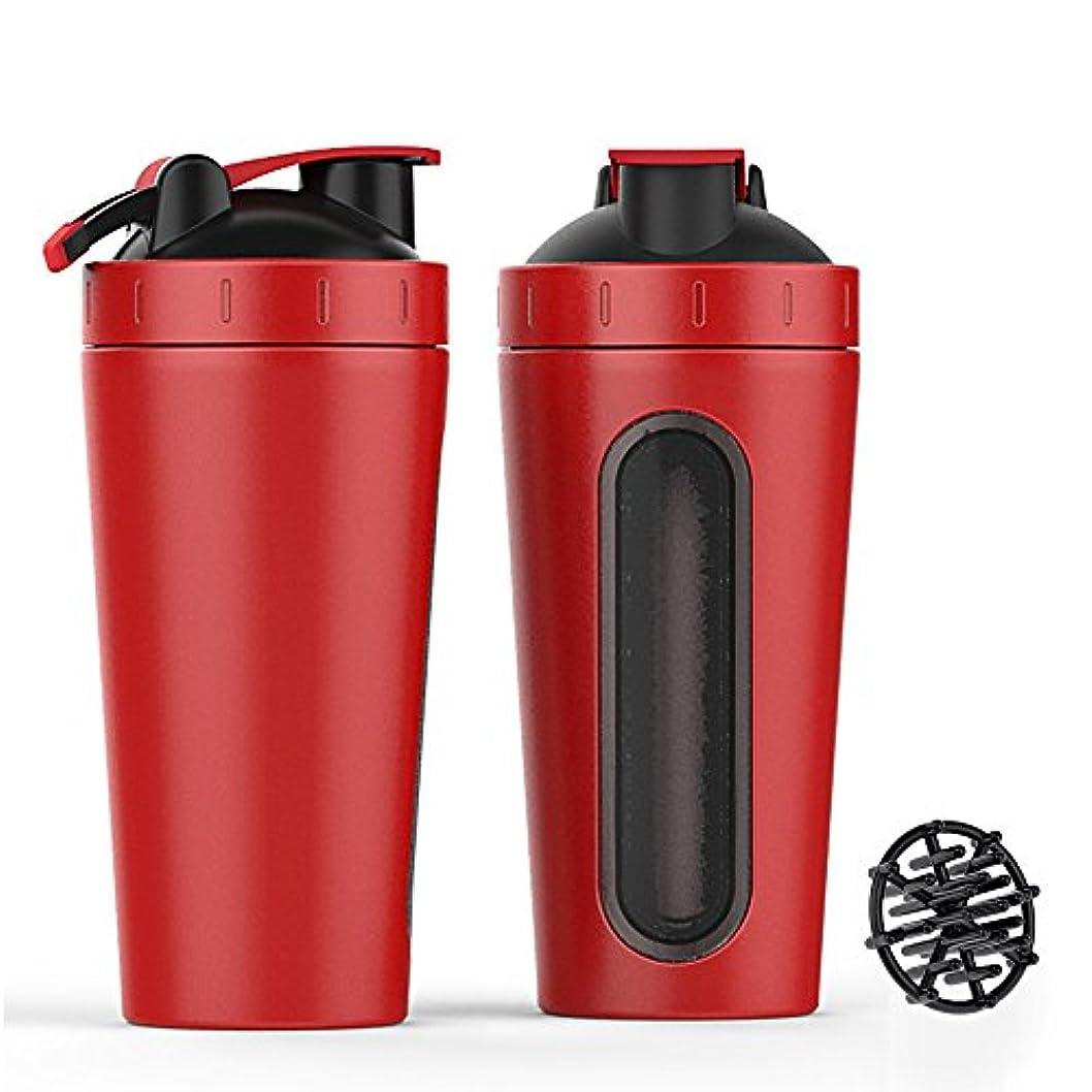 収益コンソール手錠ステンレススチール スポーツウォーターボトル プロテインミルクセーキーシェーカーカップ 可視ウィンドウ レッド