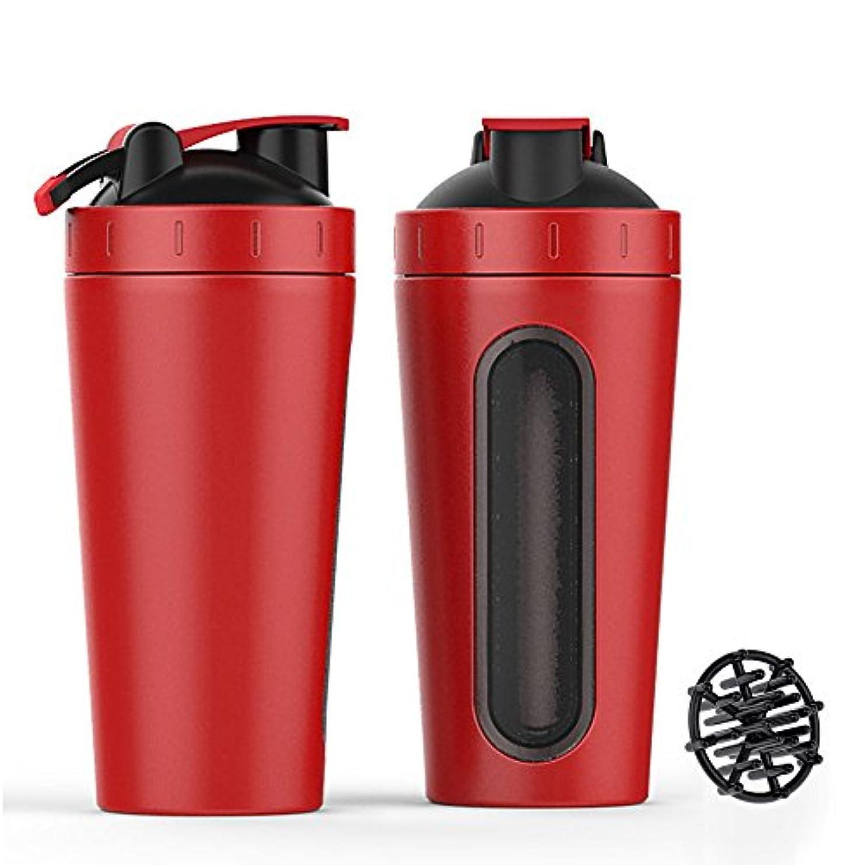 リング食物隔離ステンレススチール スポーツウォーターボトル プロテインミルクセーキーシェーカーカップ 可視ウィンドウ レッド