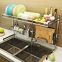 食器乾燥ラック シンク上ディスプレイスタンド 水切り ステンレススチール キッチン用品 収納棚 キッチン用品 ストレージラックステンレススチール (Size : 86*49*30cm)