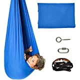 Indoor Therapy Swing for Kids Snuggle Sensory Swing Cuddle Hammock for Children with Autism, ADHD, Aspergers (Blue)