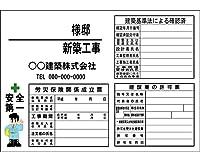 安全・サイン8 建築現場用看板(空欄記入タイプ) 新築工事看板 プラダンBタイプ 850×1200