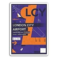 2×10センチメートルLCYロンドン・シティ空港ビニールステッカー - イングランドイギリスステッカー#17425(10センチメートルトール)