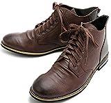 ダークブラウン L(27.0cm~27.5cm) ドレープブーツ チャッカーブーツ レザー チャッカブーツ デザートブーツ ブーツ ショートブーツ メンズ B4L バックジップ 革靴 カジュアル シューズ スムース ローカットミドルカット アンクルブーツ 父の日 BLGLBB-101-DBR-L_r