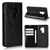 ZWwxin 電話ケース サムスンギャラクシーS9 + / S9プラスレザーケース、鑑賞スタンド&カードスロット付きラグジュアリークレイジーホース本革製財布ケース、サムスンギャラクシーS9プラスのためのフリップケースカバー (Color : Black)