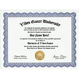 Video Game Videogame Gamer Degree: Custom Gag Diploma Doctorate Certificate (Funny Customized Joke Gift - Novelty Item)