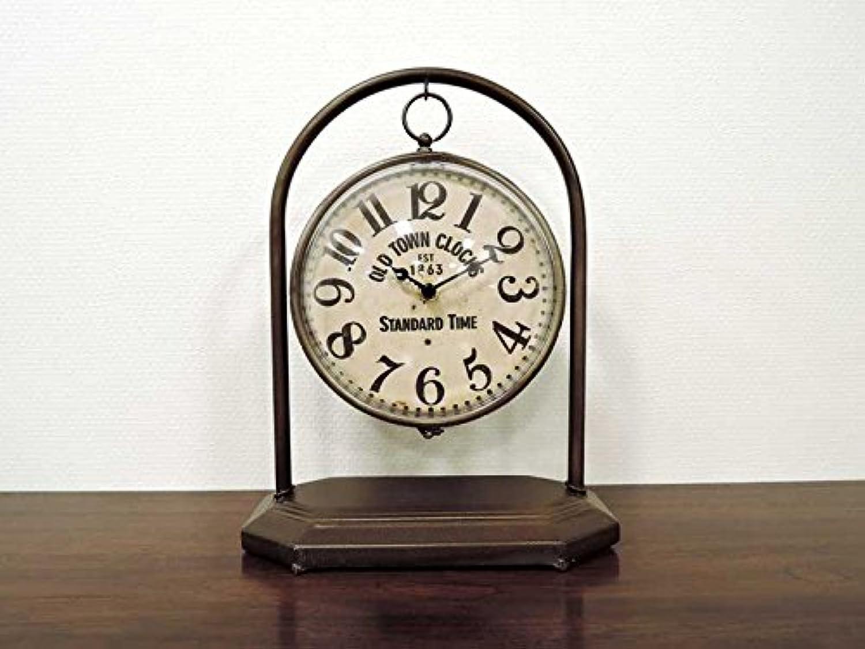 ダングルボール クロックスタンド 時計 置き時計 卓上 アンティーク クラシックデザイン シャビー アナログ テーブルクロック インテリア おしゃれ 北欧 アジアン雑貨