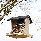 QYSZYG Outdoor Bird Feeder/Hanging Wooden Covered Bird Feed Box/Waterproof Leakproof Large Capacity Bird Food Box Gray