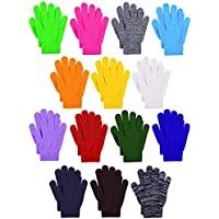 Cooraby 14 Pairs Kids Warm Magic Gloves Winter Full Finger Stretchy Gloves for Boys Girls