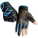 Zhuotop Fishing Gloves Outdoor Non-Slip Anti-stabbing Exposed Three-Finger Fishing Protective Gloves for Men Women