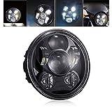 LEDヘッドライト ハーレー 5.75インチ hi/lo 防水 高輝度 DC12v-30v プロジェクター ブラック 1個 GREENBEAN