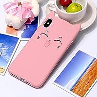 CHENJUAN IPhone XSマックスのためのチェシャ猫パターンシリコーン保護ケースデザイン (色 : ピンク)