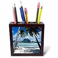 Danita Delimont––フレンチポリネシア、ボラボラ、ビューのビーチリゾート砂浜–タイルペンホルダー 5 inch tile pen holder