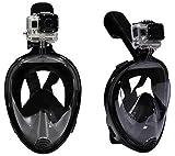 Oittm シュノーケルマスク180°のワイドビュー 表層スキューバダイビングマスクEasybreath フルフェイス型GoProヒーローHD「ヒーロー 4/3+/3/2/1 小米科技スポーツカメラ 」シュノーケリング用具 S/Mサイズ子供用/女性用 L/XLサイズ男性用/大人用 (ブラック, L/XL)