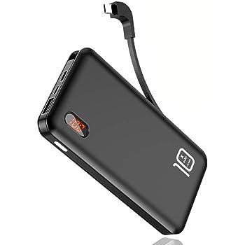 【最新版】 モバイルバッテリー ケーブル内蔵 大容量 10000mAh 薄型 軽量 急速充電 LEDスクリーン microUSBコネクタ付 スマホ 充電器 コンパクト 持ち運び便利 2台同時充電 iPhone&Android&Type-C 全機種対応 (ブラック)