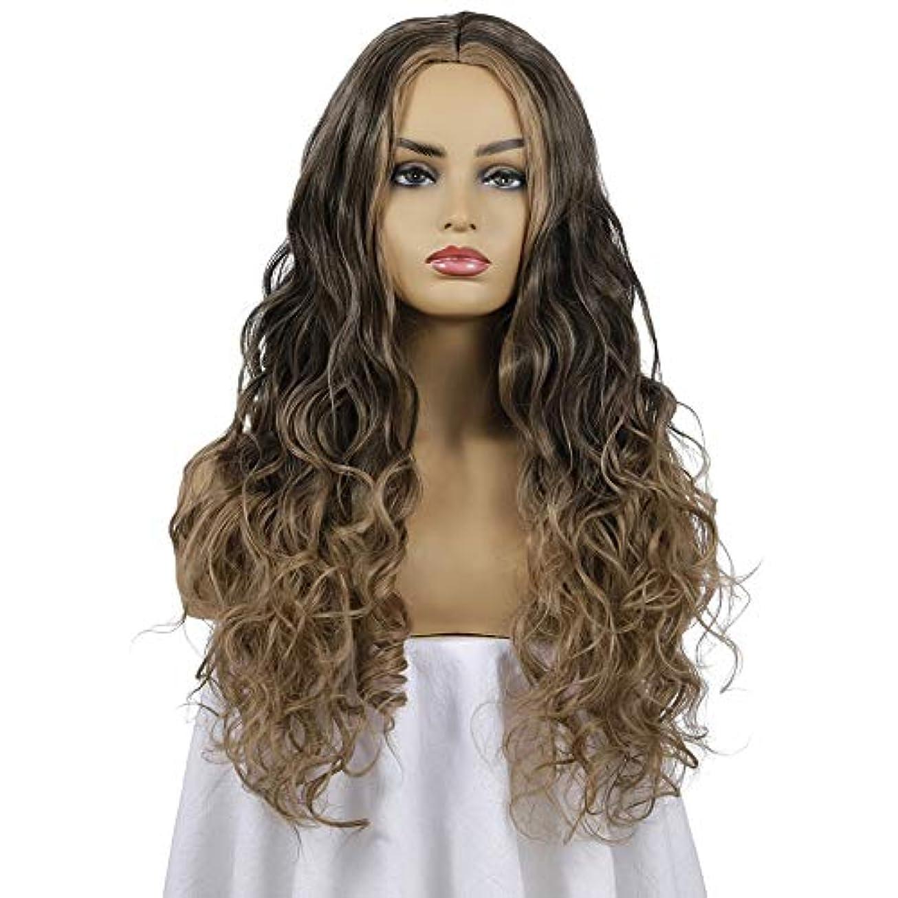 マイク息子図書館女性の長い巻き毛のウェーブのかかった髪のかつら26インチ魅力的な人工毛交換かつらと中間別れハロウィーンコスプレ衣装アニメパーティーかつら、黒と茶色のかつら