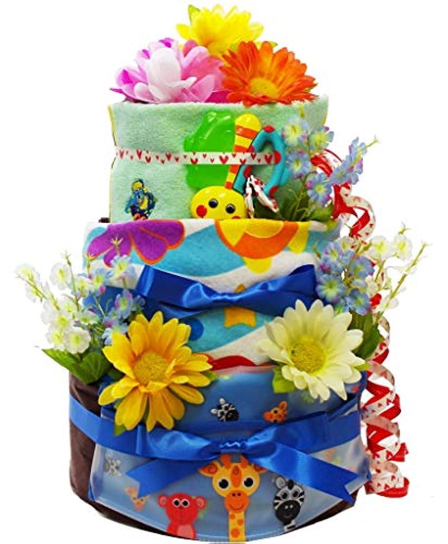 マラドロイト交流する香港おむつケーキ トリプルハッピーツリー ブルー 出産祝い 男の子 (パンパース テープM 28枚) Sassy おもちゃ スタイ フェイスタオル