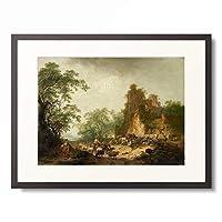 Hendrik Meyer 「Landschaft mit Schafherde vor einem Bauernhaus in einer Ruine.」 額装アート作品