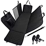 "Dog Car Seat Cover Waterproof Pet Back Seat Cover Car Travel Hammock with Zippered Mesh Visual Window & Seatbelt Opening Nonslip Bench Protector for Cars Trucks SUVs - (Black, 54"" x 58"")"