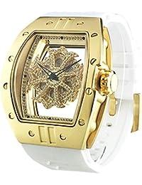 ビッグ レクタングル スケルトン クロス<ゴールドベゼル/クリアカラースワロ/ホワイトベルト> 腕時計 グルグル時計 ぐるぐる時計