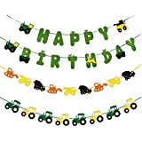 Astra グルメ 建設車 トラック ハッピーバースデー バナー ゴミ トラック ガーランド フラッグ 子供 誕生日 パーティー用品 装飾 - 3パック