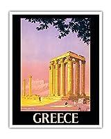 ギリシャ - ゼウス神殿 - アテネ、ギリシャ - ビンテージな世界旅行のポスター によって作成された ピエール・コマルモン c.1930s - アートポスター - 41cm x 51cm