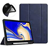 MoKo Case for Samsung Galaxy Tab S4 10.5 with S Pen Holder, Soft TPU Ultra Thin Slim Trifold Smart Stand Cover with Auto Wake/Sleep for Galaxy Tab S4 10.5 Inch 2018 (SM-T830/T835/T837) Tablet - Indigo