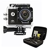 WIMIUS Wifi 4K(30FPS) 2.0インチ液晶 防水 スポーツ アクションカメラ ウェアラブルカメラ 予備バッテリー付属 戸外用 (ブラック)