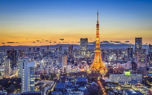 絵画風 壁紙ポスター (はがせるシール式) 夕暮れの東京タワ...