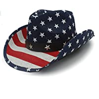 KMJHKVM Hollow Western Cowboy Summer Straw Women Hat with American Flag Caps (Color : 1, Size : 58cm)