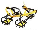Luckerjun アイゼン 10本爪 雪道 登山 トレッキング 滑り止めスパイク スキーガイド 長さ調整可能 スノーシュー 男女兼用 ベルトに簡単脱着