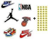 NIKE キッズ (Basketball, Nike, NBA) - 6 Skateboard Vinyl Stickers, YOU PICK, Laptop Ipad Luggage Helmet Bike Car + 43 FREE Smiley Stickers