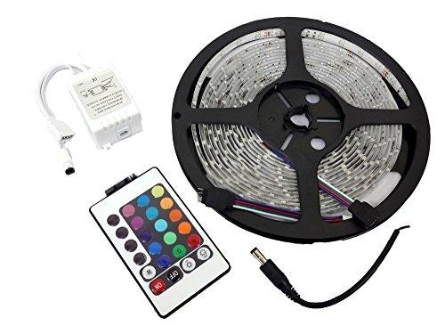 LEDテープ ライト 5m 300連 正面発光 12V 防水 屋内パーティーデコレーションと柔軟なテープ照明 16色 リモコン 配線付 カット可 車 バイク