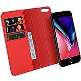 ZOVER iPhone8 ケース iPhone7 ケース 手帳型 取り外しな財布型 本革レザー ワイヤレス充電対応 車載ホルダー対応 ゲル吸盤シート ジェル粘着 アイフォン8 ケース アイフォン7 ケース 手帳型 全面保護カバー スタンド機能 カード収納 耐汚れ 耐衝撃 ギフトボックス(4.7インチ レッド)Red
