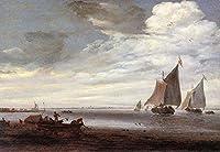 ¥5K-200k 手書き-キャンバスの油絵 - 美術大学の先生直筆 - River 船 シービューペインティング RSSP2 Salomon van Ruysdael ビーチ 絵画 洋画 複製画 -サイズ01