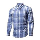 Tzou 16色 メンズ ボタンダウン チェック柄 シャツ ワイシャツ 半袖 シャツ チェックシャツ カジュアル 格子柄 大きいサイズ ブロード100% おしゃれ インナーシャツ トップス 形態安定 スリム 紳士服 ビジネス Tシャツ Mブルーホワイト