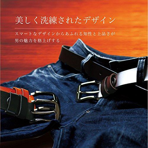 Riorune メンズ ベルト 本革 レザー カジュアル ビジネス (ブラック)