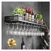 ぶら下げワイングラスラック、ぶら下げワインラックボトル&グラスホルダー、キッチン、ダイニングルーム、バー、ワインセラー用,黒,120CM