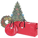 Elf Stor 83-DT5523 Christmas Set in Red 10-12 Foot Artificial Trees & 30-Inch Wreath Storage Bag