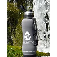 NEW 2013 Eco Stainless filter water bottle 750ml/ 1600 litre with 'Storm Grey' insulator protector